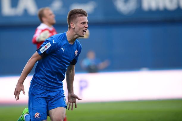Dinamo Zagreb's Dani Olmo celebrates after scoring goal. (Getty Images)
