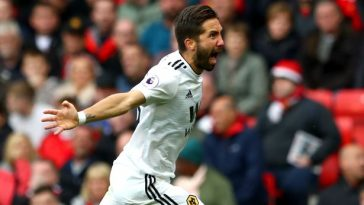 Wolves midfielder Joao Moutinho celebrates after scoring against Manchester United at Old Trafford. (Getty Images)
