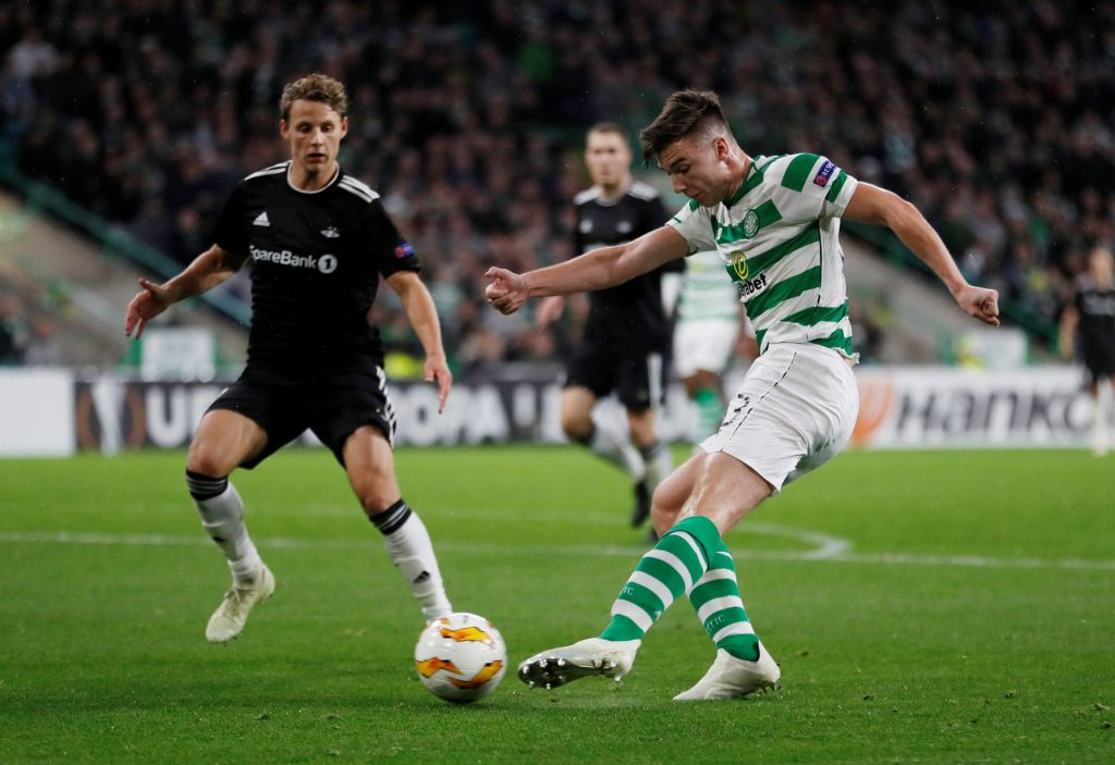 Youngster Kieran Tierney while playing for his former side Celtic.