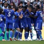 Leicester City players celebrate after scoring. (Getty Images)