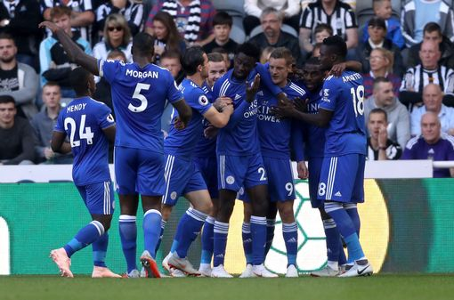 Mendy celebrating with his teammates at Leicester.