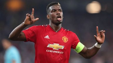 Paul Pogba celebrates his goal against Young Boys in the Champions League. (Getty Images)
