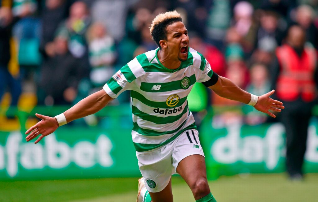 Celtic winger Scott Sinclair celebrates after scoring. (Getty Images)