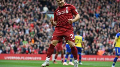 Xherdan Shaqiri ecstatic after scoring against Southampton. (Getty Images)