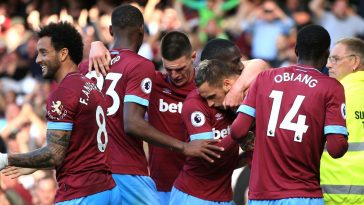 West Ham players celebrate after scoring. (Getty Images)