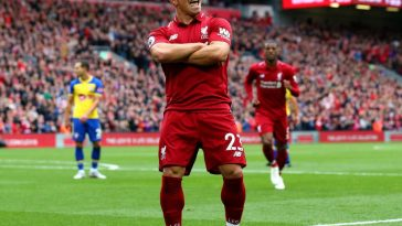 Xherdan Shaqiri celebrates after scoring for Liverpool. (Getty Images)