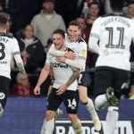 Derby County players celebrate after scoring. (Getty Images)