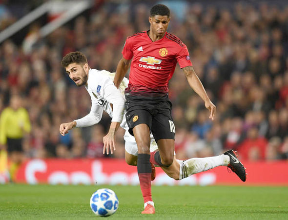 Marcus Rashford playing for Manchester United.
