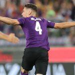 Nikola Milenkovic celebrates after scoring for Fiorentina. (Getty Images)