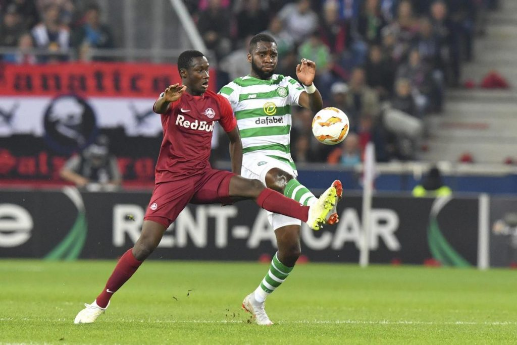 Celtic striker Odsonne Edouard battles for the ball against his opponent. (Getty Images)