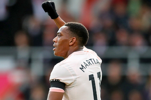 Manchester United forward Anthony Martial celebrates after scoring. (Getty Images)
