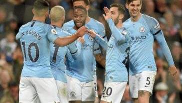Manchester City players celebrate after scoring. (Getty Images)