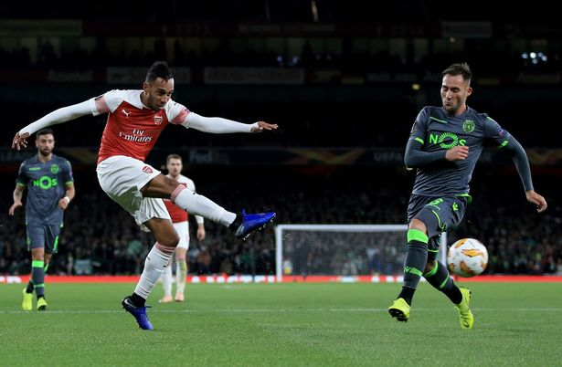 Pierre-Emerick Aubameyang playing for Arsenal.