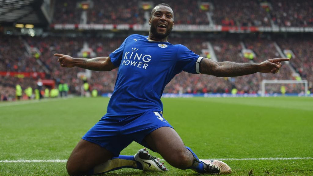 Leicester defender Wes Morgan celebrates after scoring. (Getty Images)