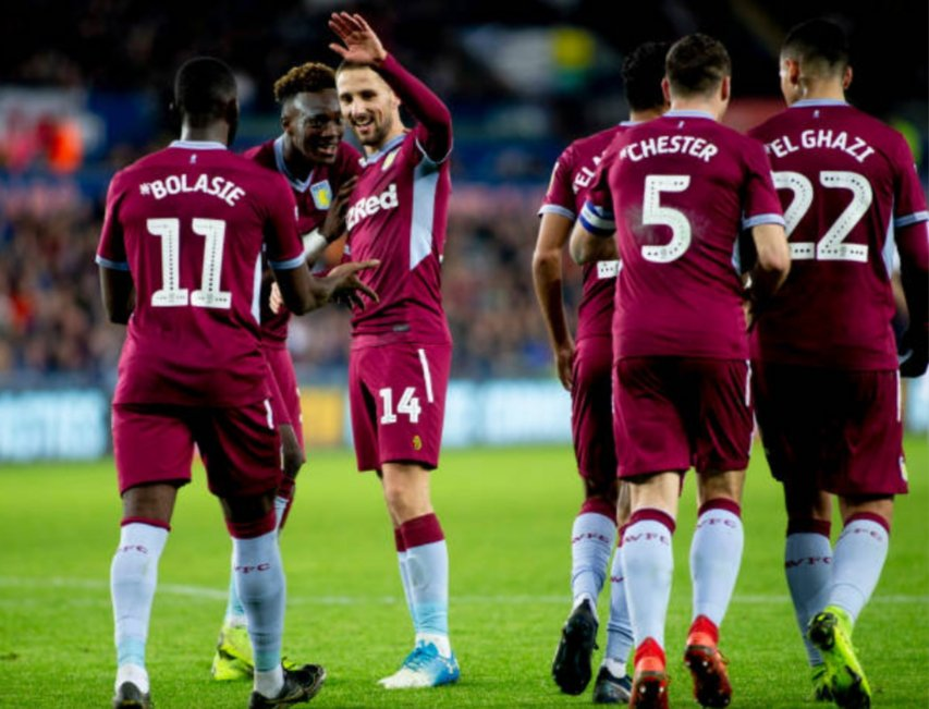 Aston Villa players celebrate after scoring. (Getty Images)