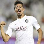 Baghdad Bounedjah celebrating a goal for Al Sadd. (Getty Images)