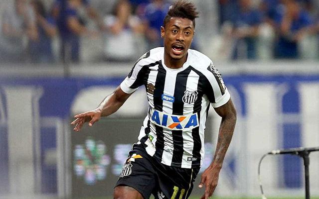 Bruno Henrique celebrates after scoring for Santos. (Getty Images)