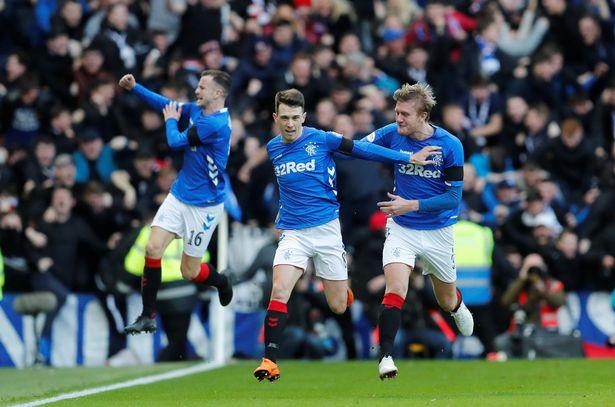 Rangers players celebrate