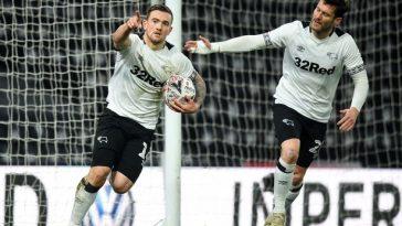 Derby County striker Jack Marriott celebrates a goal with teammate Tom Huddlestone. (Getty Images)