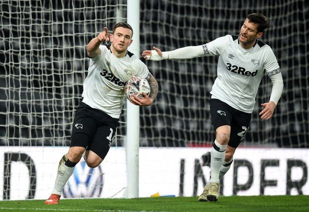 Derby County striker Jack Marriott celebrates a goal with teammate Tom Huddlestone. (Getty Images)