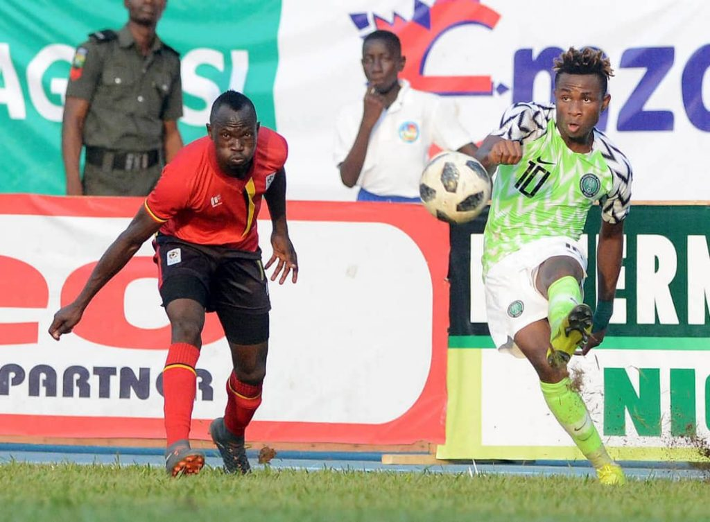 Chukwueze playing for his national side Nigeria.