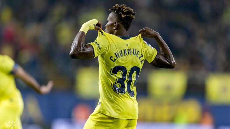 Villareal's Chukwueze celebrates after scoring a goal.