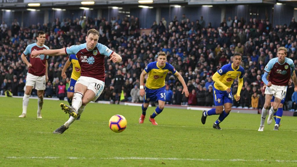Ashley Barnes scores a penalty against Southampton