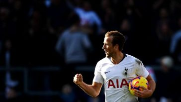 Tottenham's Harry Kane celebrates a goal. (Getty Images)