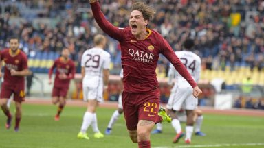 AS Roma's Nicolo Zaniolo celebrates after scoring. (Getty Images)