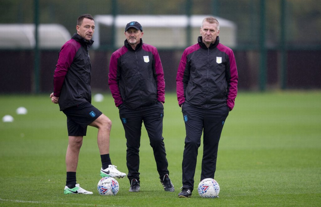 Aston Villa manager Dean Smith (extreme right) during a training session.