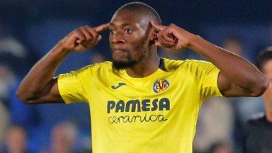 Karl Toko Ekambi celebrates after scoring for Villarreal. (Getty Images)