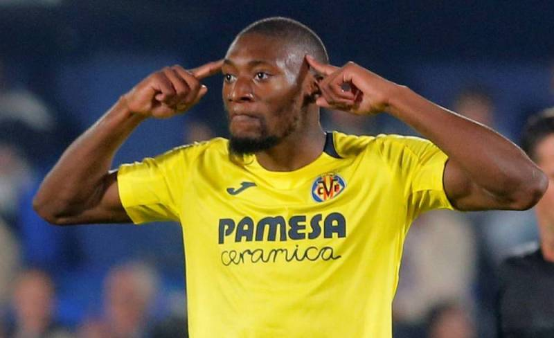Karl Toko Ekambi celebrates after scoring for Villarreal. (Getty Images)