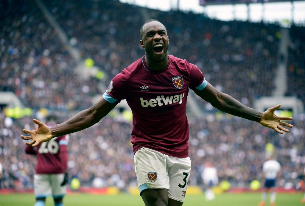 West Ham's Michail Antonio celebrating.
