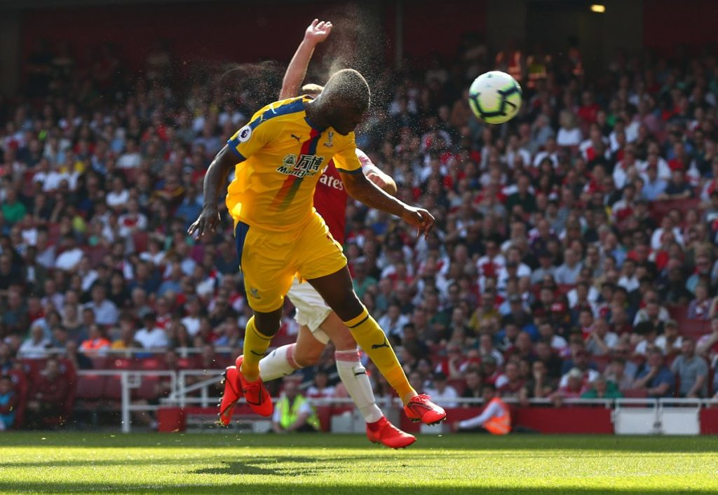 Benteke tries to bury one past the keeper with a thunderous header.