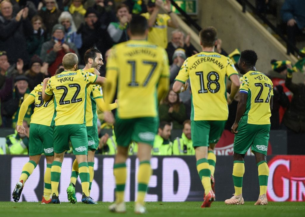 Norwich City players celebrate. (Getty Images)