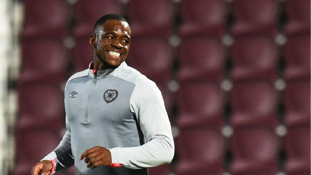 Hearts striker Uche Ikpeazu warming up. (Getty Images)