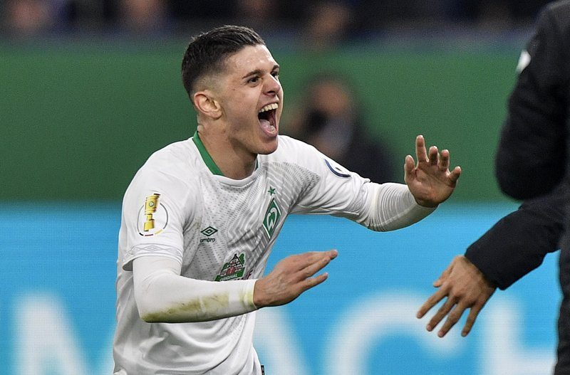 Werder Bremen winger Milot Rashica celebrates after scoring. (Getty Images)