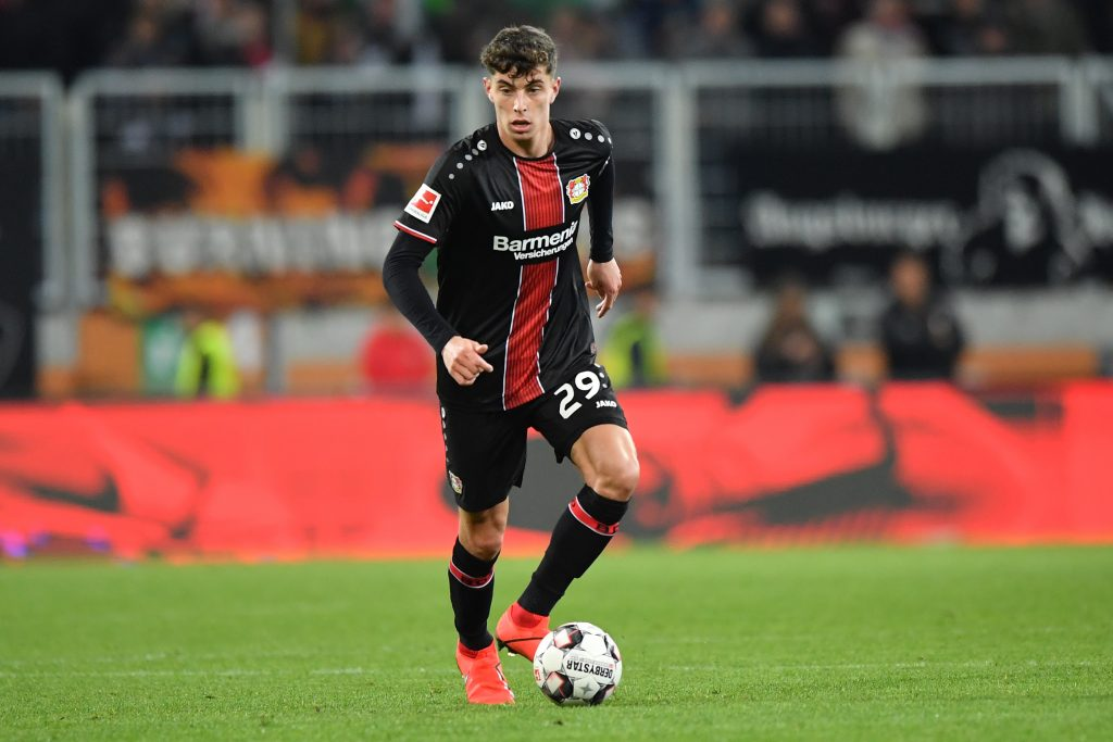 Kai Havertz of Bayer 04 Leverkusen plays the ball during the Bundesliga match between FC Augsburg and Bayer 04 Leverkusen.