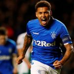 Rangers' right-back James Tavernier celebrates after scoring. (Getty Images)