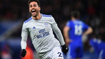 On-loan Cardiff City midfielder celebrates after scoring against Leicester City. (Getty Images)
