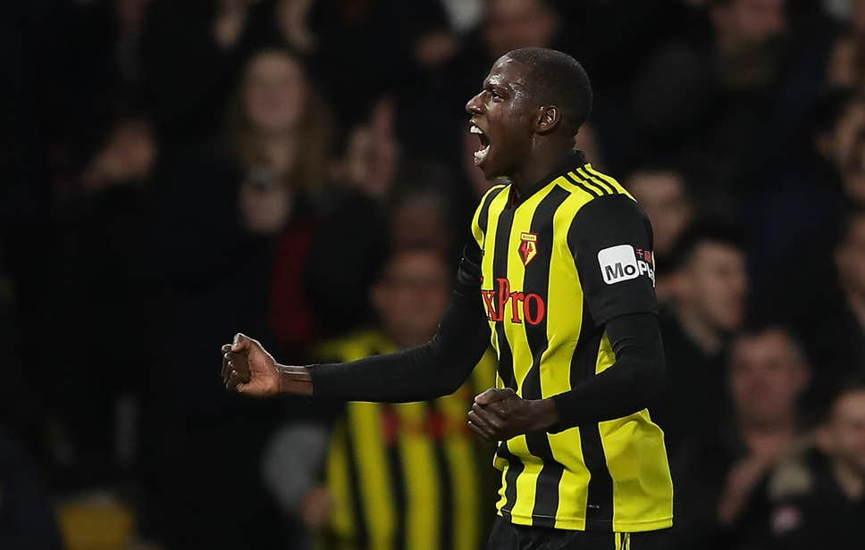 Watford midfielder Abdoulaye Doucoure celebrates after scoring. (Getty Images)