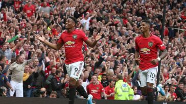 Anthony Martial and Marcus Rashford celebrate against Chelsea. (Getty Images)