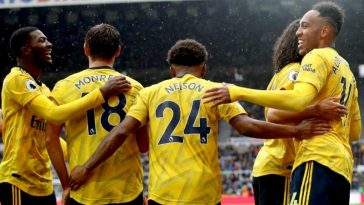 Arsenal players celebrating their goal against Newcastle United at St. James' Park. (Getty Images)