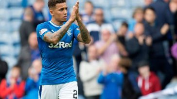 James Tavernier applauds the Rangers fans. (Getty Images)