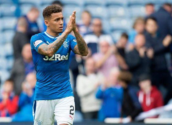 James Tavernier applauds the Rangers fans. (Getty Images)