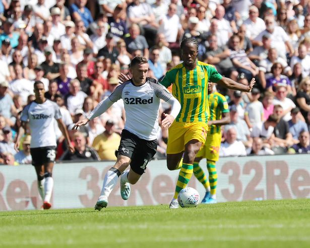 West Brom midfielder Romaine Sawyers in action against Derby County. (Getty Images)