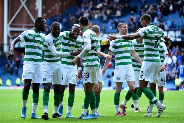 Celtic team celebrating a goal against Rangers. (Getty Images)