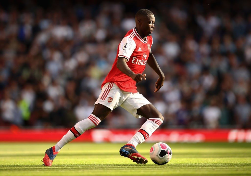 Arsenal man Nicolas Pepe on the run. Source-Getty Images