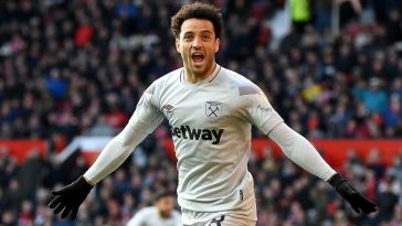 West Ham's Felipe Anderson celebrates after scoring against Manchester United at Old Trafford. (Getty Images)