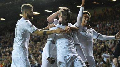 Leeds United players celebrate after scoring. (Getty Images)